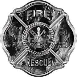 Traditional Fire Rescue Fire Fighter Maltese Cross Sticker / Decal in Gray Inferno Flames
