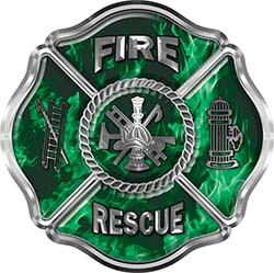 Traditional Fire Rescue Fire Fighter Maltese Cross Sticker / Decal in Green Inferno Flames