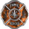 Traditional Fire Rescue Fire Fighter Maltese Cross Sticker / Decal in Orange Inferno Flames