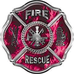 Traditional Fire Rescue Fire Fighter Maltese Cross Sticker / Decal in Pink Inferno Flames