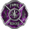 Traditional Fire Rescue Fire Fighter Maltese Cross Sticker / Decal in Purple Inferno Flames