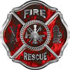 Traditional Fire Rescue Fire Fighter Maltese Cross Sticker / Decal in Red Inferno Flames