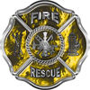 Traditional Fire Rescue Fire Fighter Maltese Cross Sticker / Decal in Yellow Inferno Flames