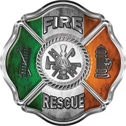 Traditional Fire Rescue Fire Fighter Maltese Cross Sticker / Decal with Irish Flag