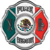 Traditional Fire Rescue Fire Fighter Maltese Cross Sticker / Decal with Mexico Flag