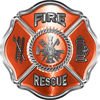 Traditional Fire Rescue Fire Fighter Maltese Cross Sticker / Decal in Orange