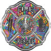 Traditional Fire Rescue Fire Fighter Maltese Cross Sticker / Decal with Psychedelic Art