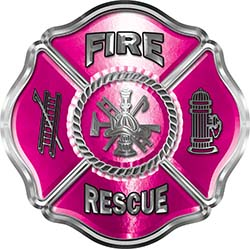 Traditional Fire Rescue Fire Fighter Maltese Cross Sticker / Decal in Pink