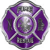 Traditional Fire Rescue Fire Fighter Maltese Cross Sticker / Decal in Purple