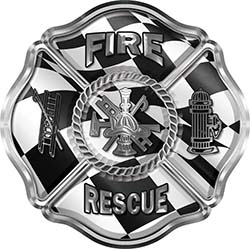 Traditional Fire Rescue Fire Fighter Maltese Cross Sticker / Decal with Racing Checkered Flag