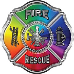 Traditional Fire Rescue Fire Fighter Maltese Cross Sticker / Decal with Rainbow Colors