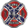 Traditional Fire Rescue Fire Fighter Maltese Cross Sticker / Decal with Confederate Rebel Flag
