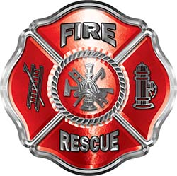 Traditional Fire Rescue Fire Fighter Maltese Cross Sticker / Decal in Red