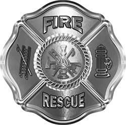 Traditional Fire Rescue Fire Fighter Maltese Cross Sticker / Decal in Silver