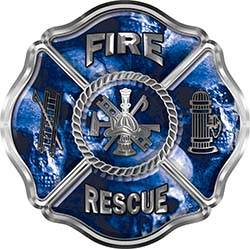 Traditional Fire Rescue Fire Fighter Maltese Cross Sticker / Decal with Blue Evil Skulls