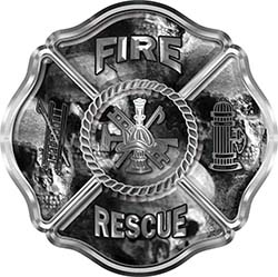 Traditional Fire Rescue Fire Fighter Maltese Cross Sticker / Decal with Gray Evil Skulls