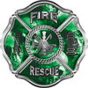 Traditional Fire Rescue Fire Fighter Maltese Cross Sticker / Decal with Green Evil Skulls