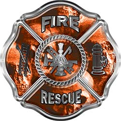 Traditional Fire Rescue Fire Fighter Maltese Cross Sticker / Decal with Orange Evil Skulls
