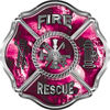 Traditional Fire Rescue Fire Fighter Maltese Cross Sticker / Decal with Pink Evil Skulls