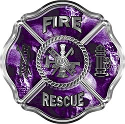 Traditional Fire Rescue Fire Fighter Maltese Cross Sticker / Decal with Purple Evil Skulls
