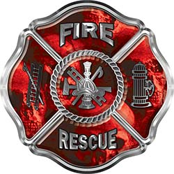 Traditional Fire Rescue Fire Fighter Maltese Cross Sticker / Decal with Red Evil Skulls