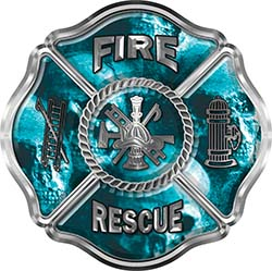 Traditional Fire Rescue Fire Fighter Maltese Cross Sticker / Decal with Teal Evil Skulls