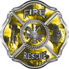 Traditional Fire Rescue Fire Fighter Maltese Cross Sticker / Decal with Yellow Evil Skulls