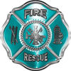 Traditional Fire Rescue Fire Fighter Maltese Cross Sticker / Decal in Teal
