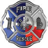 Traditional Fire Rescue Fire Fighter Maltese Cross Sticker / Decal with Texas Flag