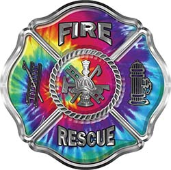 Traditional Fire Rescue Fire Fighter Maltese Cross Sticker / Decal with Tie Dye Colors