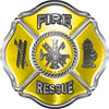 Traditional Fire Rescue Fire Fighter Maltese Cross Sticker / Decal in Yellow