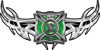 Tribal Wings with Fire Rescue Firefighter Maltese Cross In Green