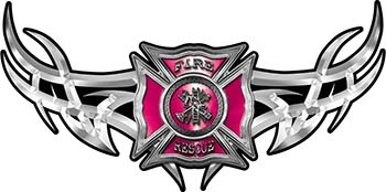 Tribal Wings with Fire Rescue Firefighter Maltese Cross In Pink