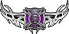 Tribal Wings with Fire Rescue Firefighter Maltese Cross In Purple