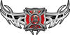 <p>Tribal Wings with Fire Rescue Firefighter Maltese Cross In Red</p>