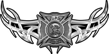 Tribal Wings with Fire Rescue Firefighter Maltese Cross In Silver