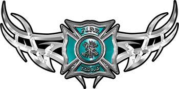 Tribal Wings with Fire Rescue Firefighter Maltese Cross In Teal