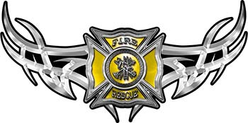 Tribal Wings with Fire Rescue Firefighter Maltese Cross In Yellow