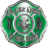 We Walk Where the Devil Dances Fire Rescue Fire Fighter Maltese Cross Sticker / Decal in Green