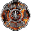We Walk Where the Devil Dances Fire Rescue Fire Fighter Maltese Cross Sticker / Decal in Inferno