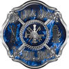 We Walk Where the Devil Dances Fire Rescue Fire Fighter Maltese Cross Sticker / Decal in Blue Inferno