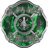 We Walk Where the Devil Dances Fire Rescue Fire Fighter Maltese Cross Sticker / Decal in Green Inferno