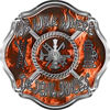 We Walk Where the Devil Dances Fire Rescue Fire Fighter Maltese Cross Sticker / Decal in Orange Inferno