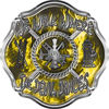We Walk Where the Devil Dances Fire Rescue Fire Fighter Maltese Cross Sticker / Decal in Yellow Inferno