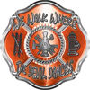 We Walk Where the Devil Dances Fire Rescue Fire Fighter Maltese Cross Sticker / Decal in Orange
