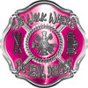 We Walk Where the Devil Dances Fire Rescue Fire Fighter Maltese Cross Sticker / Decal in Pink
