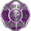We Walk Where the Devil Dances Fire Rescue Fire Fighter Maltese Cross Sticker / Decal in Purple