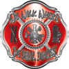 We Walk Where the Devil Dances Fire Rescue Fire Fighter Maltese Cross Sticker / Decal in Red