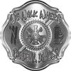 We Walk Where the Devil Dances Fire Rescue Fire Fighter Maltese Cross Sticker / Decal in Silver