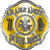 We Walk Where the Devil Dances Fire Rescue Fire Fighter Maltese Cross Sticker / Decal in Yellow
